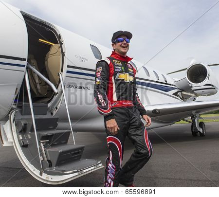 Indianapolis, IN - May 25, 2014:  NASCAR driver, Kurt Busch (26), boards his Cessna Citation X for his trip to Concord, NC to run the Coca-Cola 600 at Charlotte Motor Speedway.