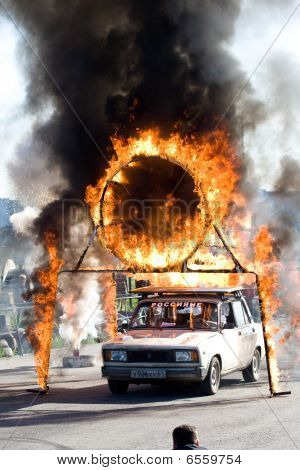 Moscow - June 6 : Stunt Man Igor Zverev Jumps Through A Tube Of Fire During A Stunt Man Show June 6,