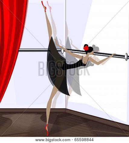 exercising of ballet dancer in black