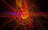 Perturbation of the atomic nucleus and elementary particles in an unstable state in the form of a raging fireball scrolling spiral. Fractal art grafics poster