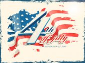 Vintage poster, banner or flyer design with stylish text 4th of July on grungy flag colors background for American Independence Day celebrations. poster