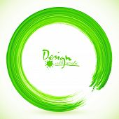 Green paintbrush textured acrylic circle vector frame poster