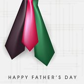 Happy Father's Day celebration greeting card design with shiny colourful necktie on blue background.  poster