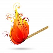 Burning match vector. Abstract wave vector background with swirls. poster