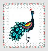polish folk pattern - peacock embroidery in labels poster