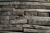 A close up view of stacked planks of wood. poster