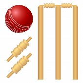Cricket ball and stump isolated on white. poster