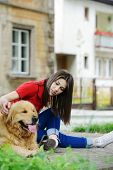 Urban stylish trendy young teenage people with dog poster