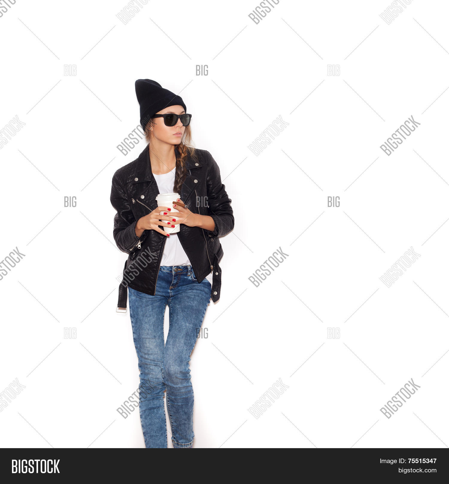 8ce0c137bbe Hipster Girl In Sunglasses And Black Beanie Smoking Cigar