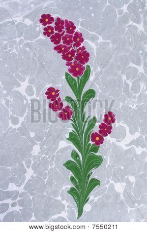 Traditional Turkish marbled paper artwork design background - Flower pattern poster