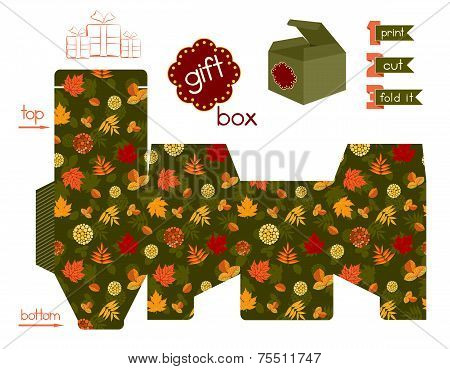 Printable Gift Box With Autumn Leaves