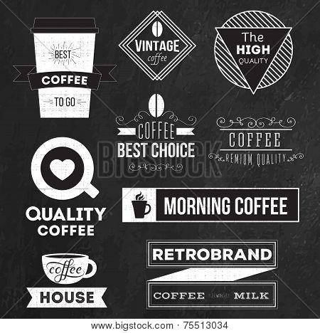 Set of badges, labels and logo elements for coffee
