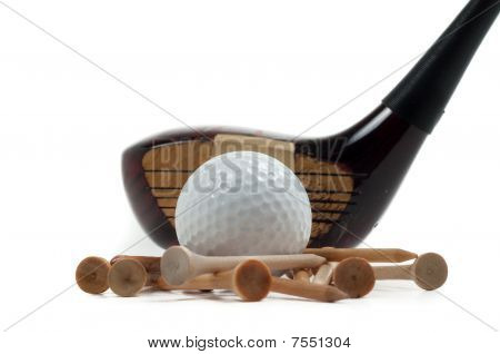 Wooden Driver With Golf Ball And Tees