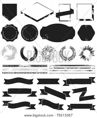 Grunge textured set of vintage styled design