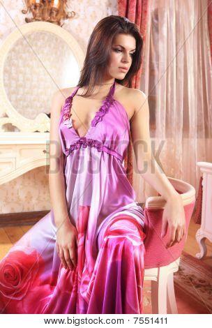 Woman In Pink Night Dress