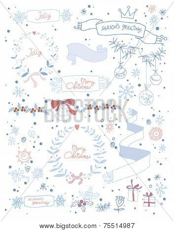 Set Of Christmas And Decorative Elements. Vector Illustration. Hand Drawn Graphic Elements.