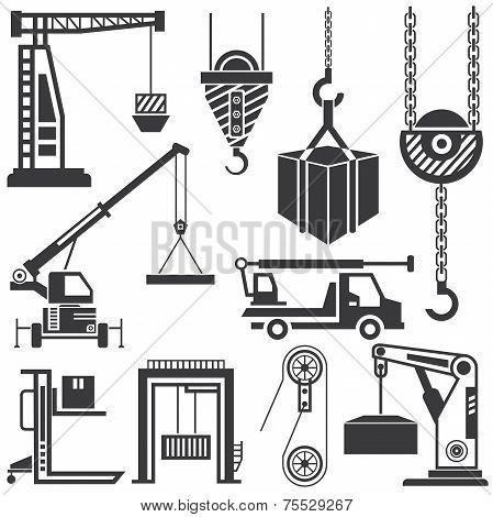 clifting machinery vector, crane icons