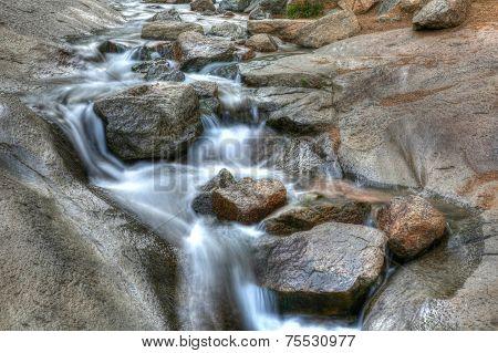 Stream rushing water time lapse