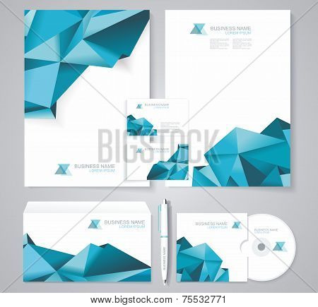 Corporate Identity Template With Blue Polygonal Design Elements.