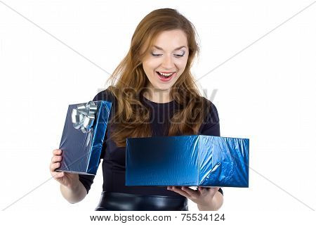 Photo of surprised woman received the gift
