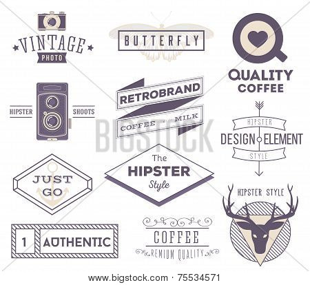 set of vector hipster modern labels, icons, logos isolated on wh