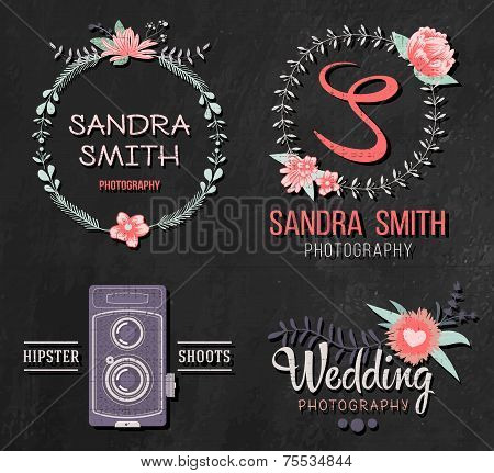 Set of retro photo logos. Wedding photography collection. Brand identity ideas. poster