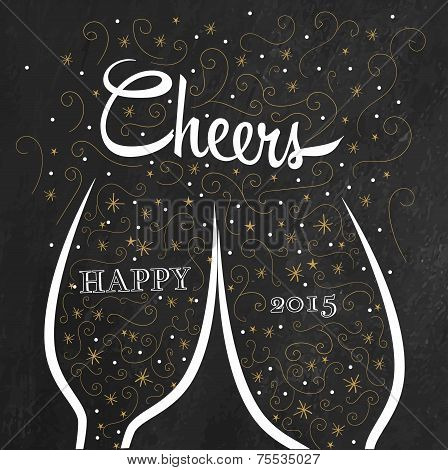 Two champagne flutes with golden doodle bubbles make cheers