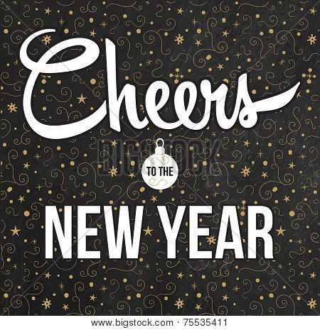 Cheers to the New Year. Golden background.
