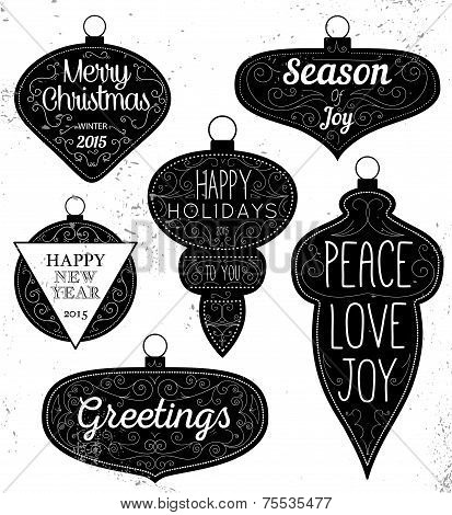 Hipster Typography Christmas design elements - labels, emblems a