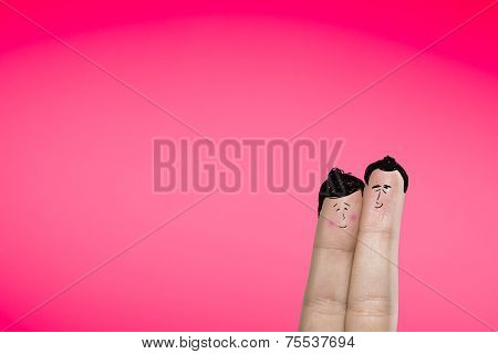 Cute asian couple in a clean background