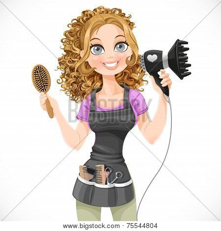 Cute Girl Hairdresser With Hair Dryer And Hairbrush Isolated On A White Background