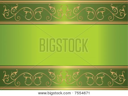 Green card with floral gold design
