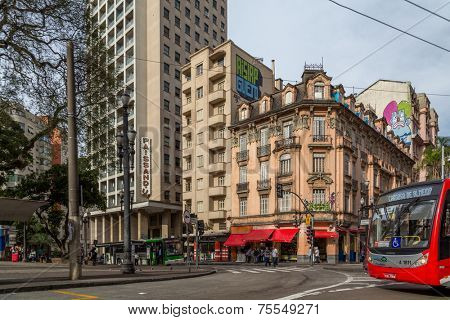 SAO PAULO, BRAZIL - AUGUST 31: Buildings next to Luz Station in August 31, 2013 in Sao Paulo, Brazil. Luz Station is the common name for a railway station in Luz neighbourhood in Sao Paulo