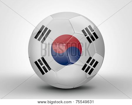 Amazing soccer ball with the flag of South Korea ( Asia ) isolated on white