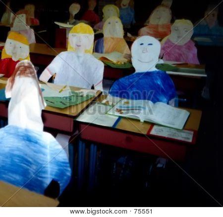 Paper Children In Classroom