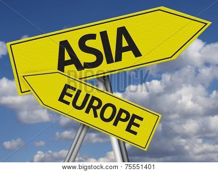 Creative Asia and Europe Sign in a beautiful sky as the background