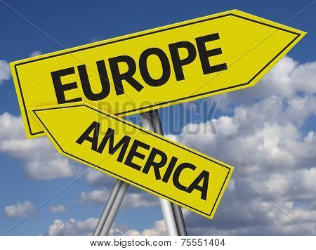 Creative Europe and America Sign in a beautiful sky as the background