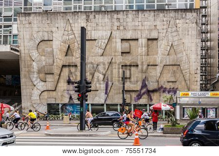 SAO PAULO, BRAZIL - October 13: Gazeta Building in Paulista Avenue on October 13, 2013, in Sao Paulo, Brazil. Gazeta is a university and a radio station located in one of the best areas Sao Paulo.