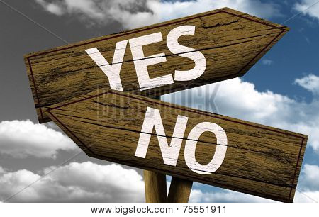 Yes x No creative sign with clouds as the background