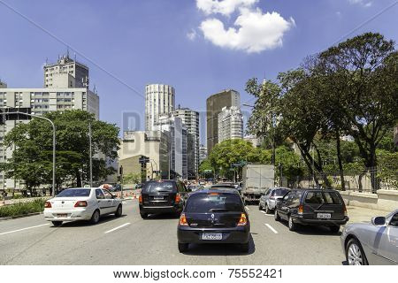 SAO PAULO, BRAZIL - NOV 10: The highway and business center in South America on November 10, 2013 in Sao Paulo, Brazil. Sao Paulo Is the most important financial hub in South America.