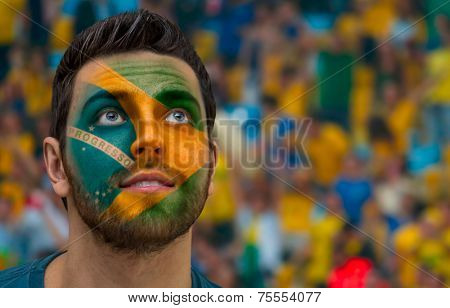 Brazilian painted the flag of Brazil on his face
