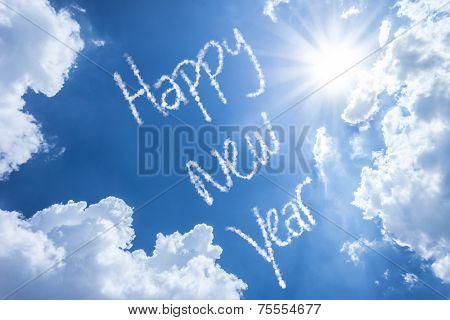 Happy New Year written on a beautiful sky