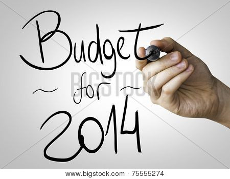Budget for 2014 hand writing with a black mark on a transparent board