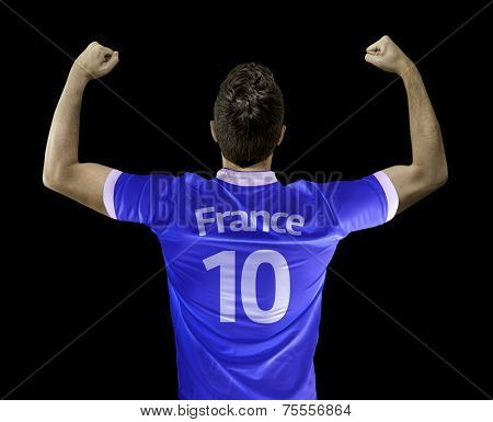 Man celebrates on black background with the french t-shirt