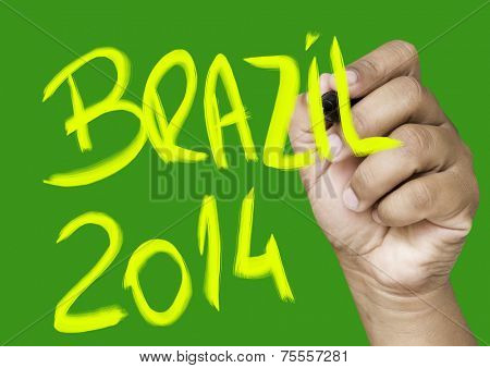 Brazil 2014 hand writing on a transparent board