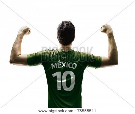 Mexican soccer player celebrates on white background