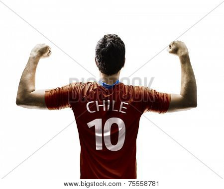 Chilean soccer player celebrates on white background