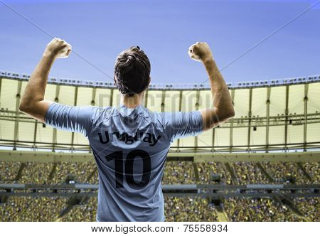 Uruguayan soccer player celebrates with the fans on the stadium