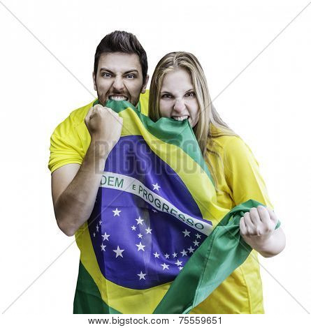 Brazilian fans celebrates on white background