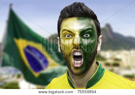 Brazilian fan celebrates in Rio de Janeiro, Brazil